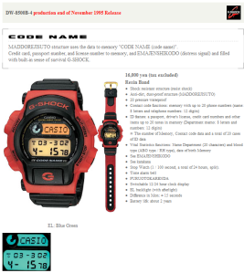 Casio G Shock DW8500 Code Name